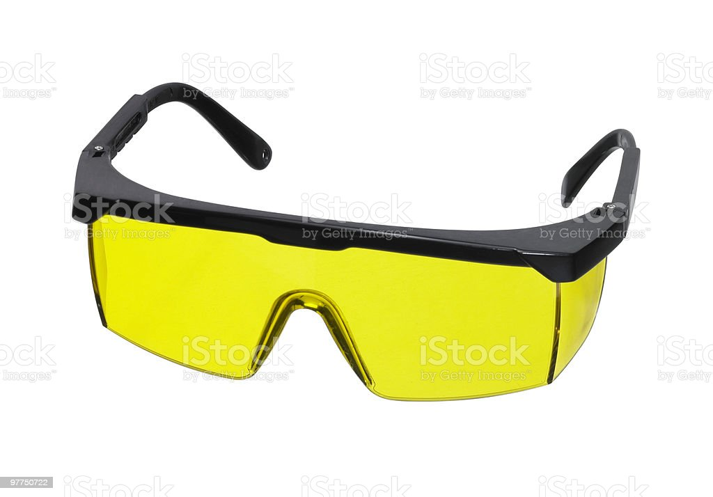 yellow goggles with black frame royalty-free stock photo