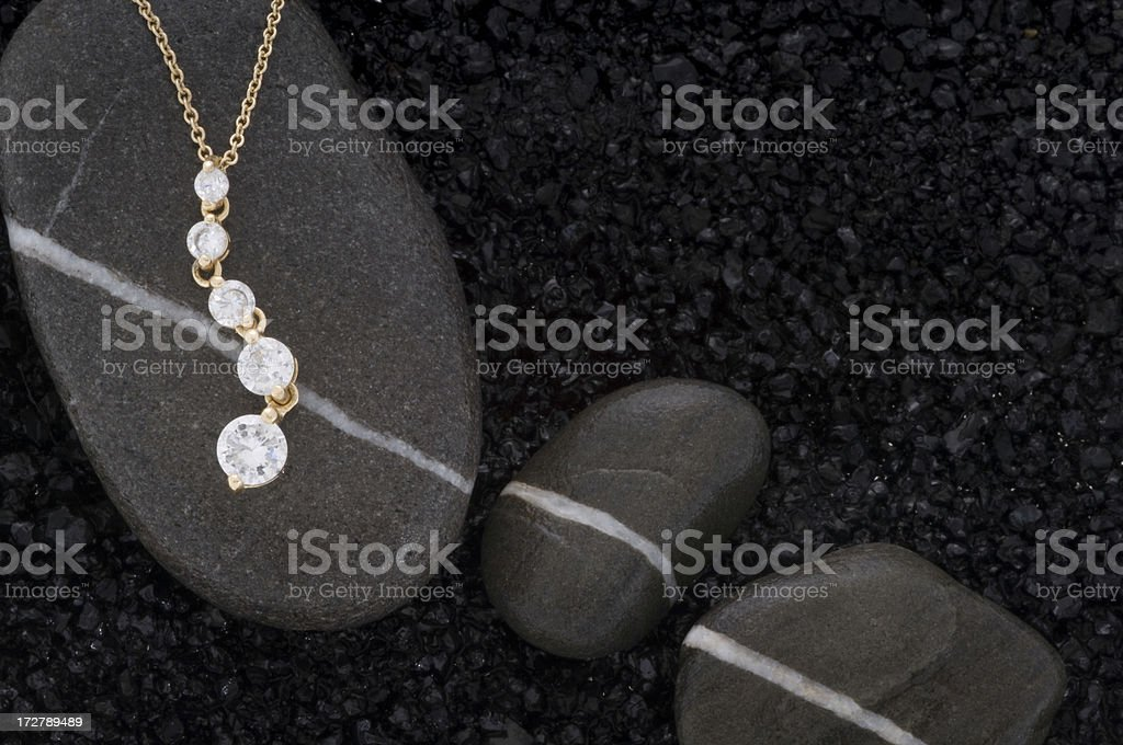 Yellow Gold and Diamond Eternity Necklace royalty-free stock photo