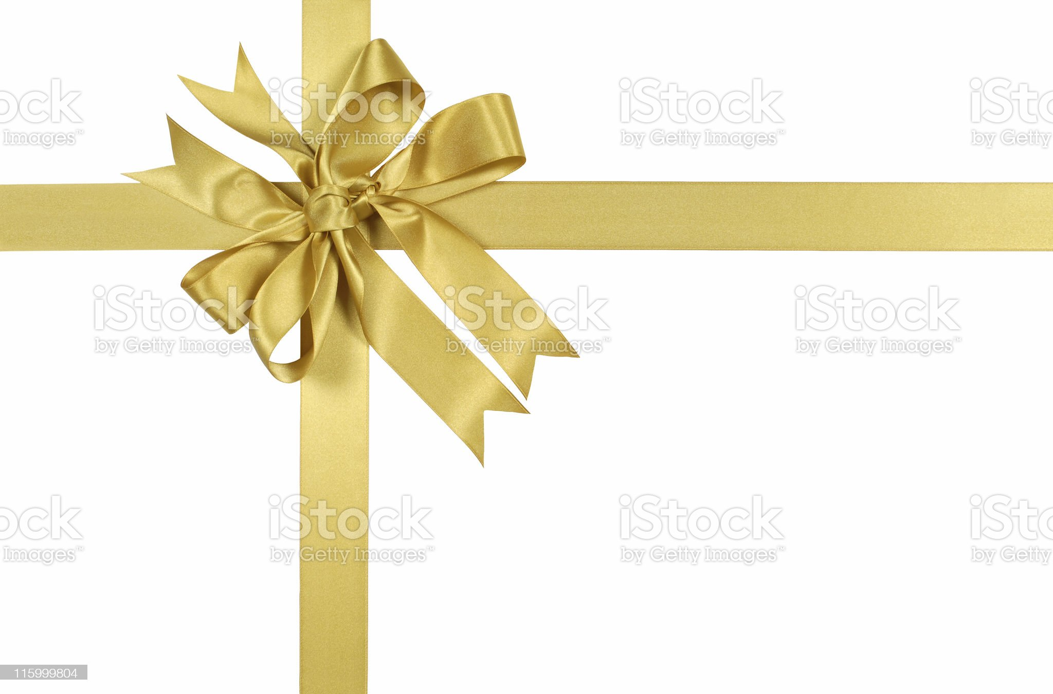 Yellow gold gift ribbon and bow royalty-free stock photo