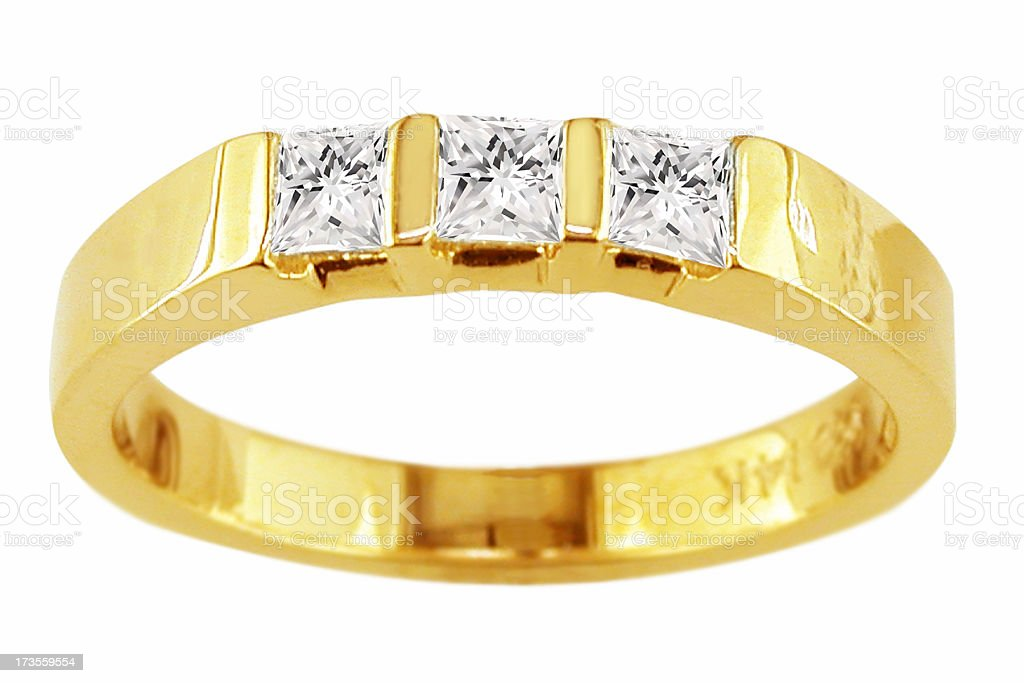 yellow gold ring with 3 Diamonds royalty-free stock photo