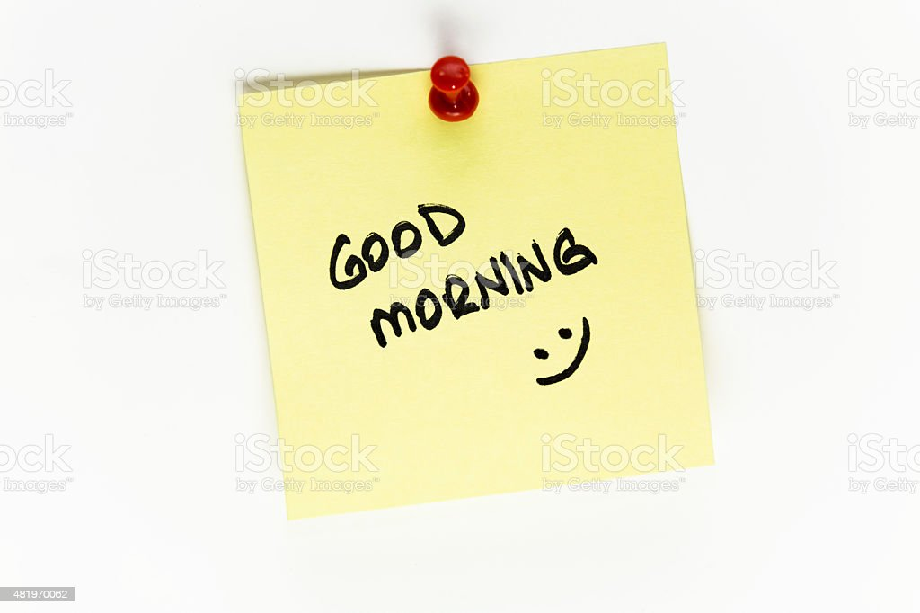 Yellow Good Morning and smile Post-it Note stock photo