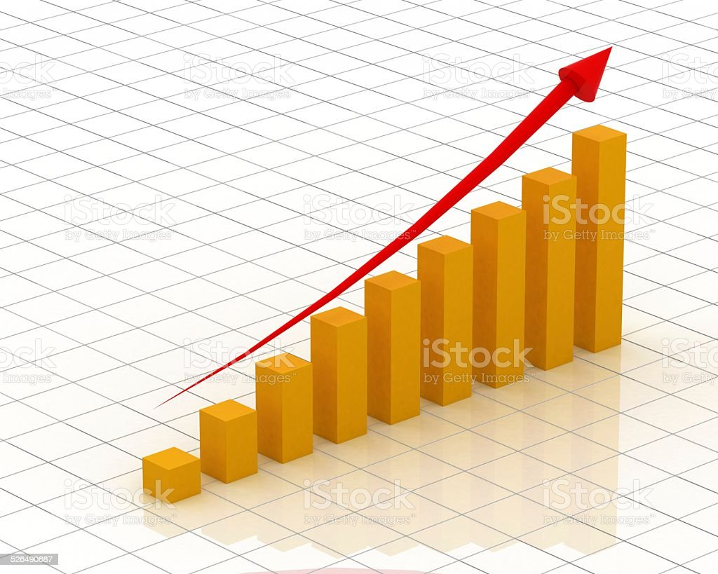 Yellow graph & chart stock photo