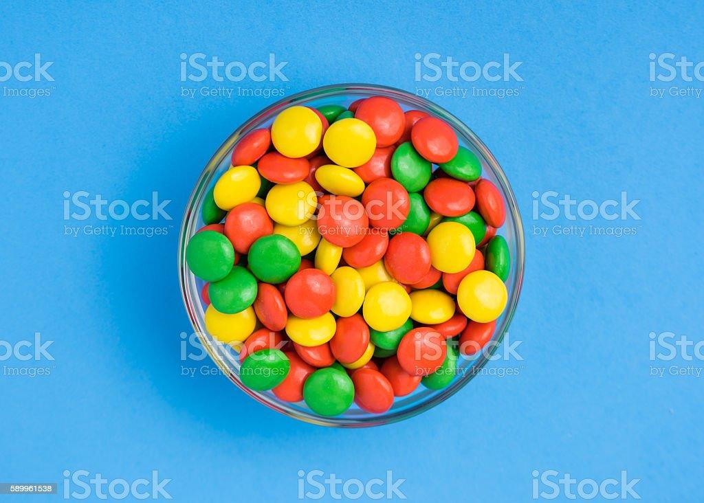 Yellow, Green and Orange Chocolate Candies stock photo