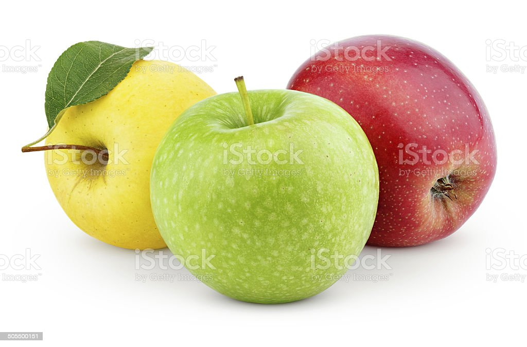 Yellow, green and red apples isolated on white stock photo