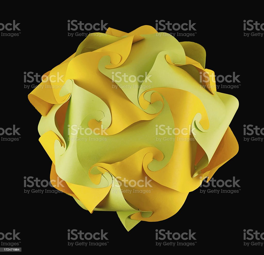 Yellow green kusudama ball royalty-free stock photo