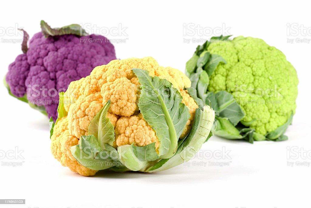 Yellow Green Purple Cauliflower stock photo