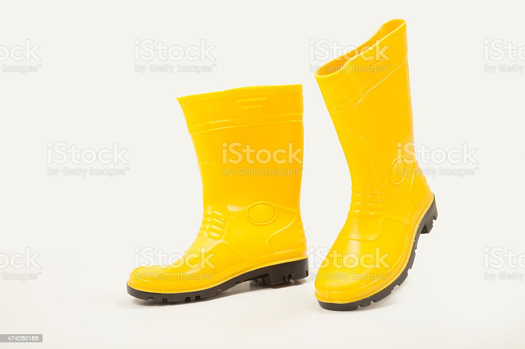 Yellow gumboot stock photo