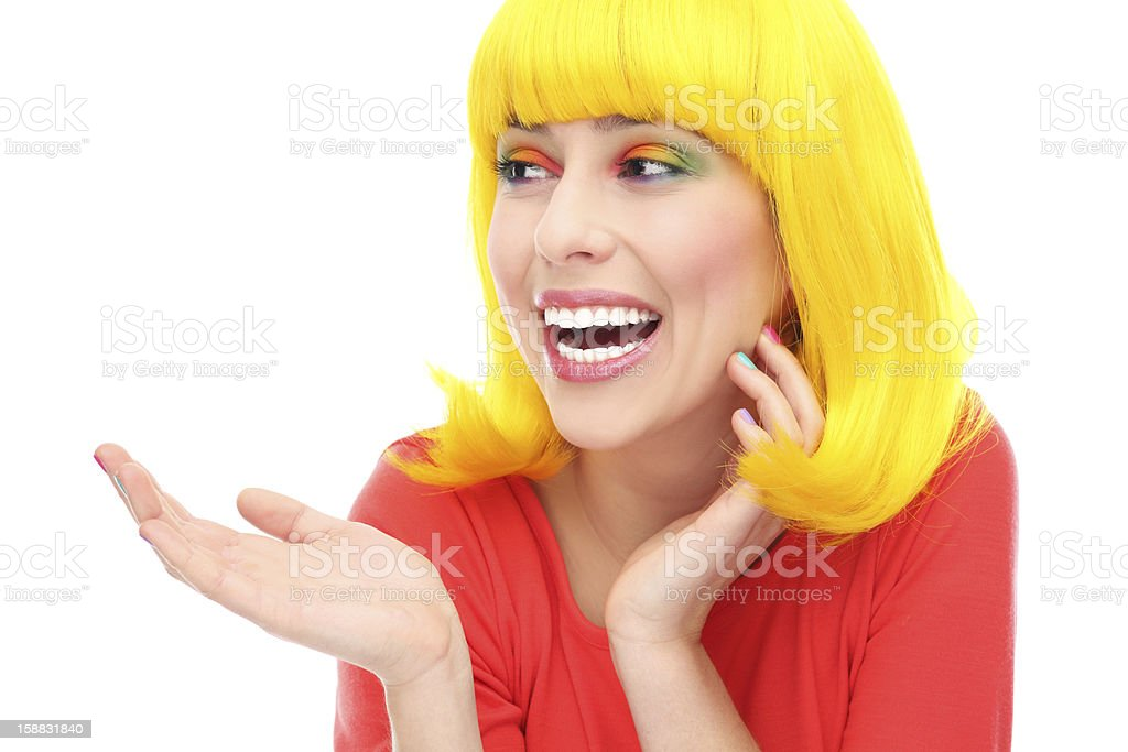 Yellow hair girl laughing royalty-free stock photo