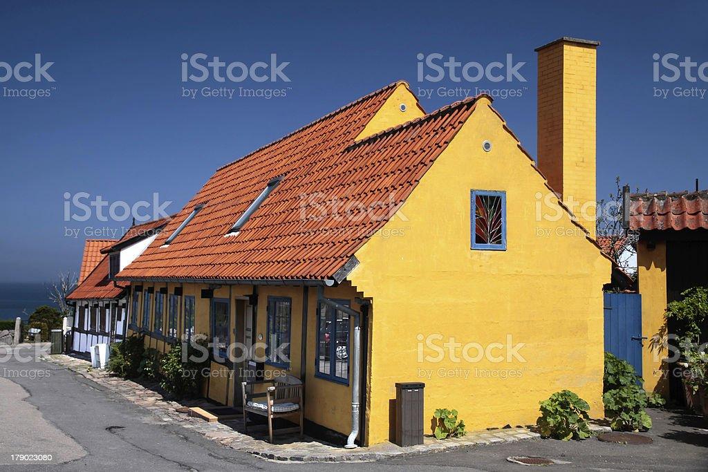 Yellow half-timbered house on Bornholm royalty-free stock photo