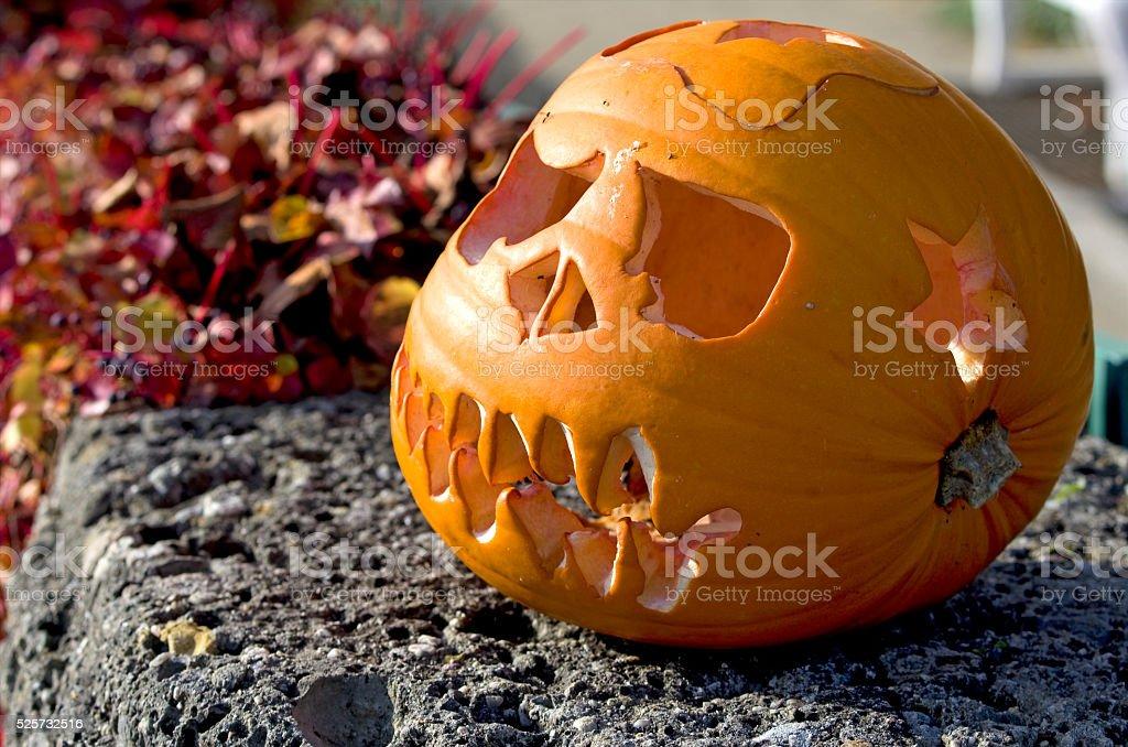 Yellow halloween pumpkin royalty-free stock photo