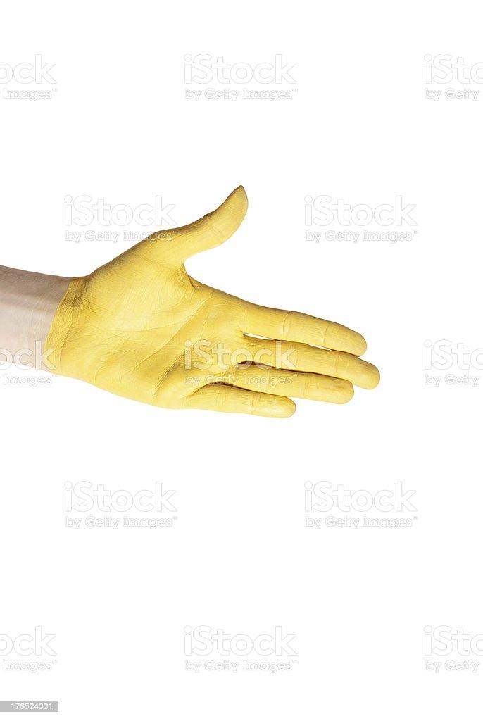 yellow hand royalty-free stock photo