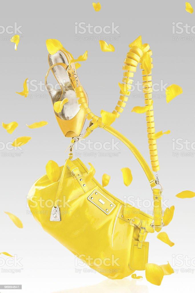 Yellow handbag and pumps royalty-free stock photo