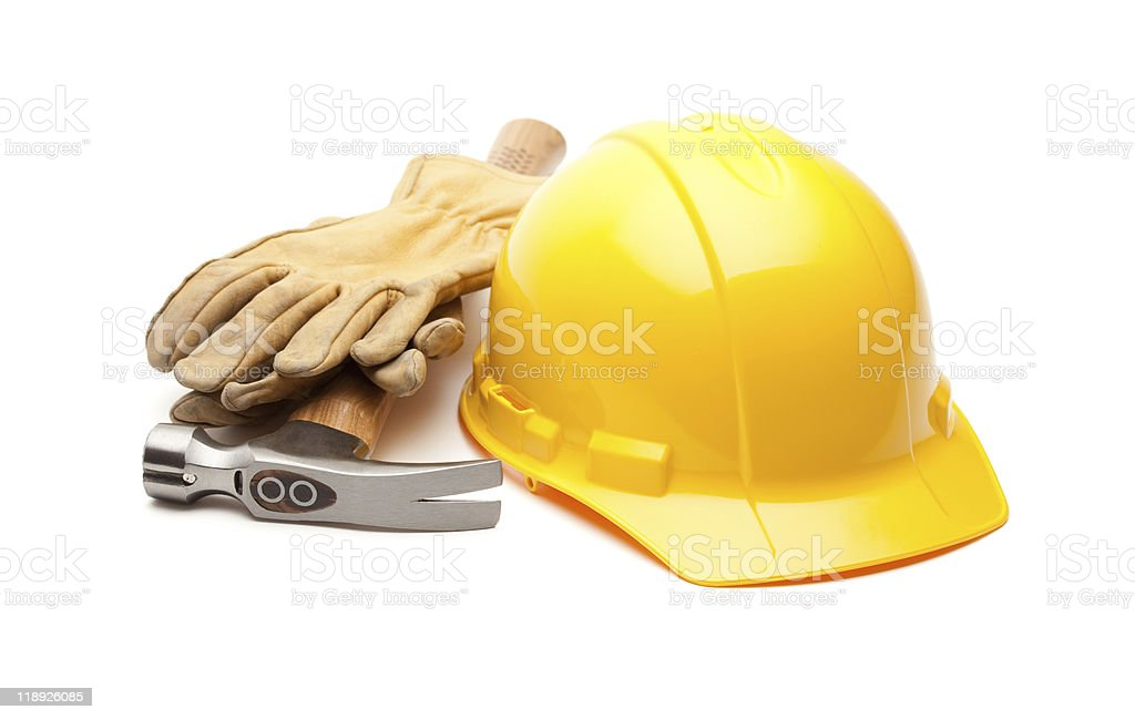 Yellow Hard Hat and Gloves on White royalty-free stock photo