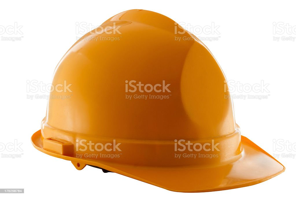 Yellow Hard Hat on white - angled royalty-free stock photo