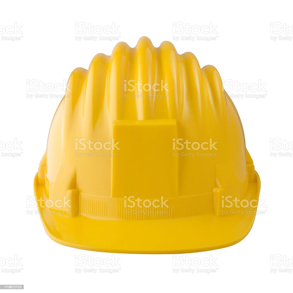 Yellow hard hat with frontal area for personalization royalty-free stock photo