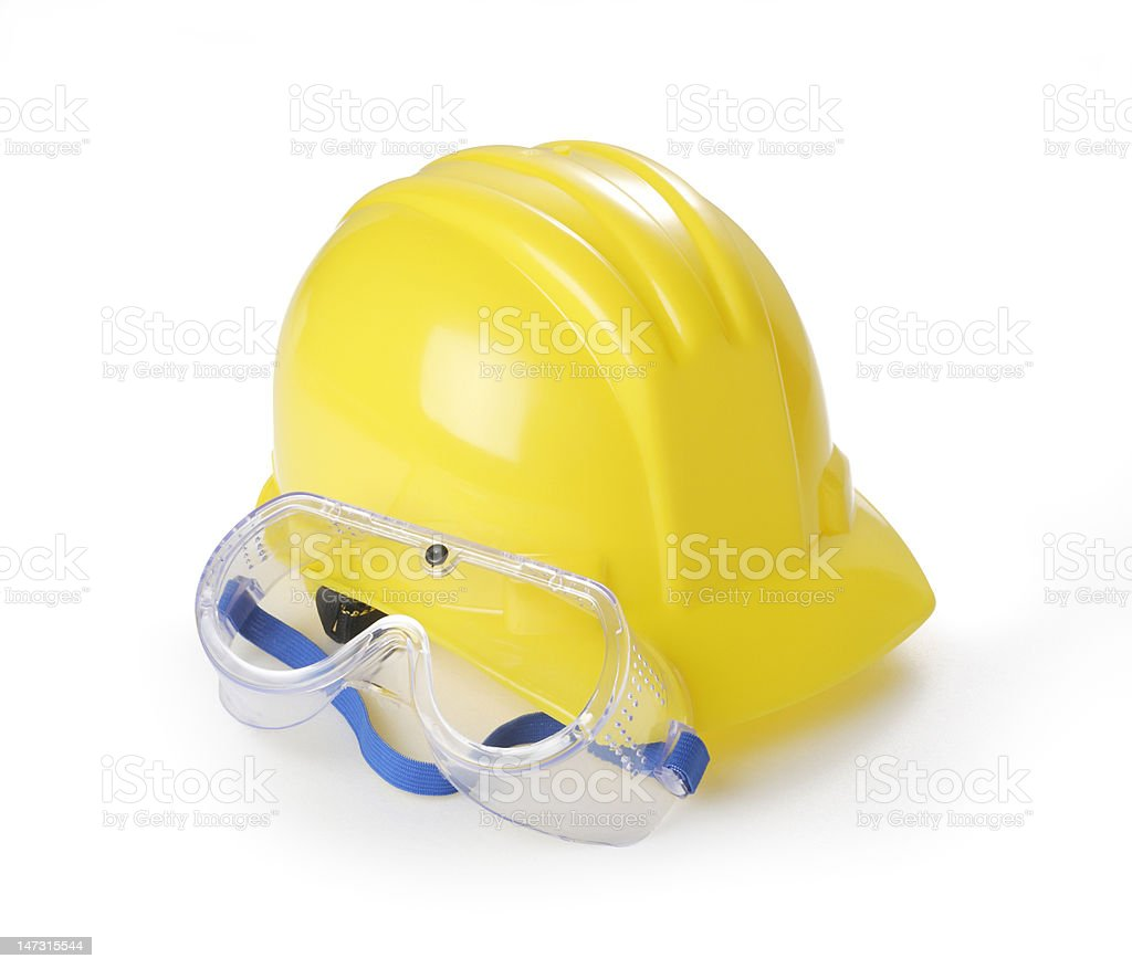 Yellow Hardhat and Safety Glasses royalty-free stock photo