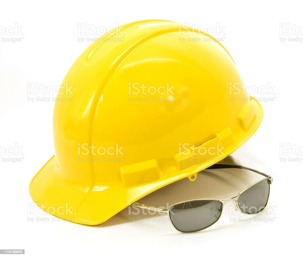 Yellow Hardhat and Tinted Safety Glasses - Isolated on White royalty-free stock photo