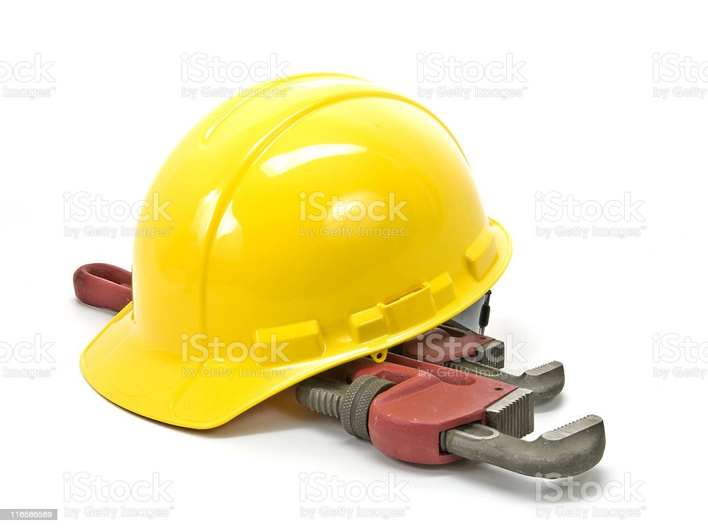 Yellow Hardhat  (Hard Hat), Plumber's Wrenches, Isolated on White royalty-free stock photo