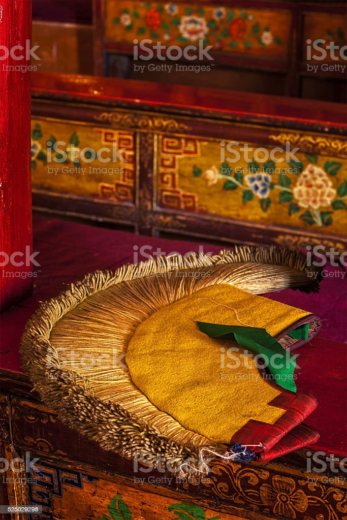 Yellow hat attribute of  Tibetan Buddhism stock photo