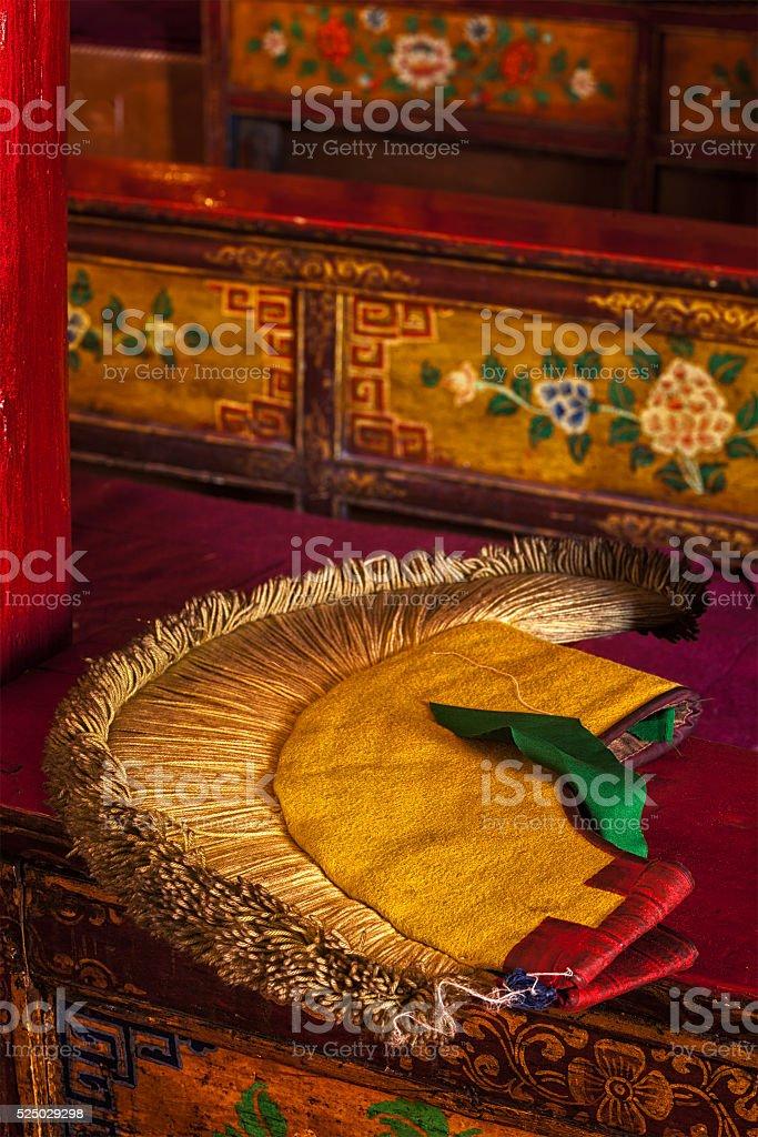 Yellow hat attribute of  Tibetan Buddhism stock photo