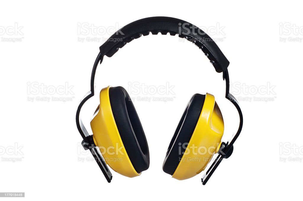 Yellow headphones on a white background stock photo