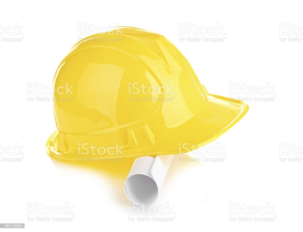yellow helmet and roll paper royalty-free stock photo