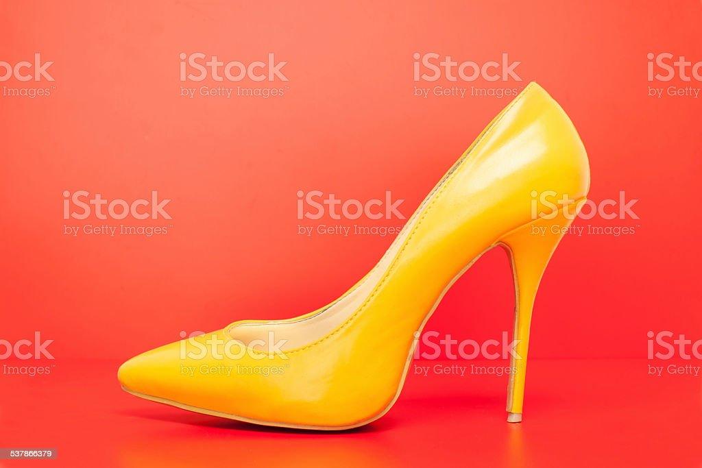 yellow high heels shoes stock photo