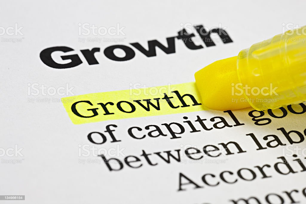 Yellow highlighter emphasizes the word 'Growth' on document royalty-free stock photo