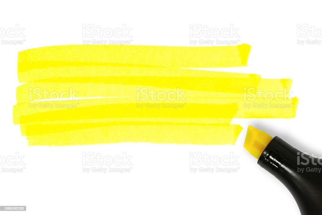 Yellow highlighter lines stock photo