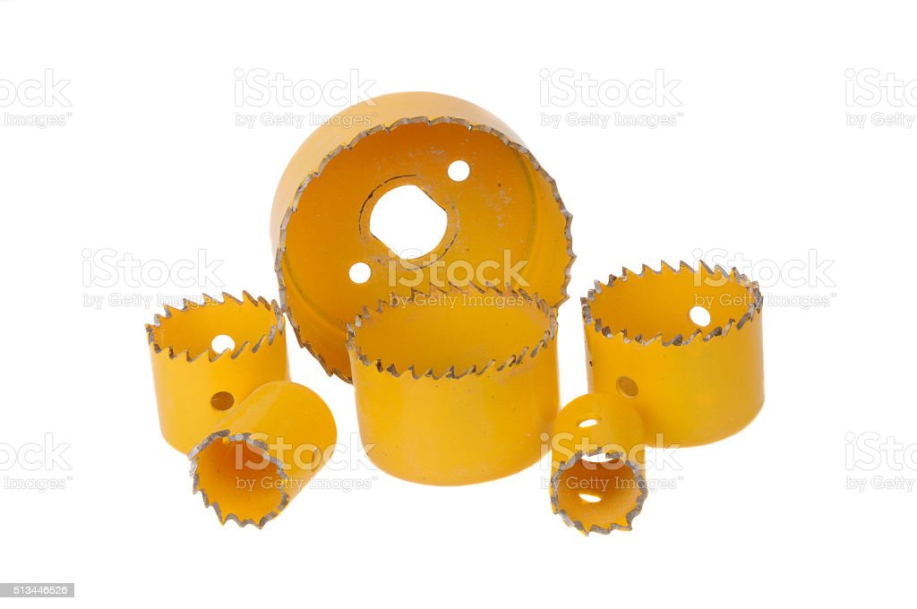 Yellow Hole Saw Drill Bits stock photo