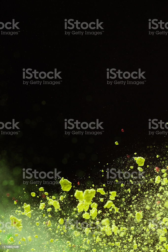 Yellow Holi Color in  the air royalty-free stock photo