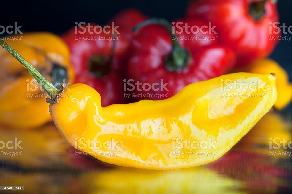 Yellow hot pepper stock photo