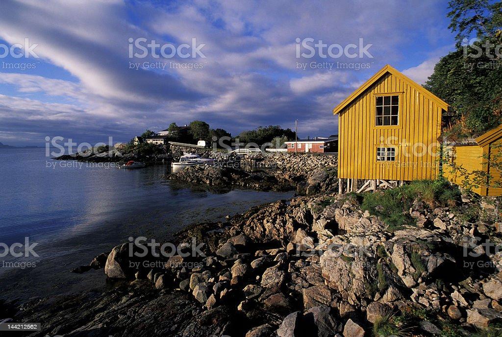 Yellow house in Lofoten Island royalty-free stock photo