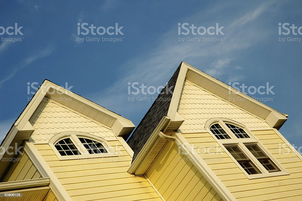 Yellow House With Gabled Dormers royalty-free stock photo