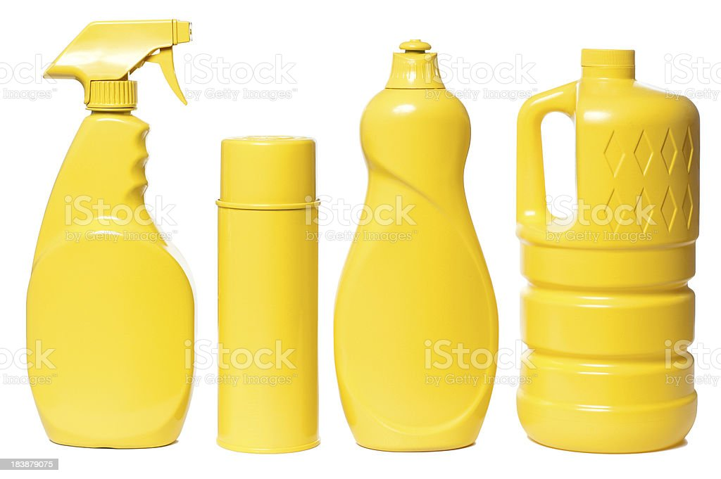 Yellow Household Cleaning Products Isolated on White Background stock photo
