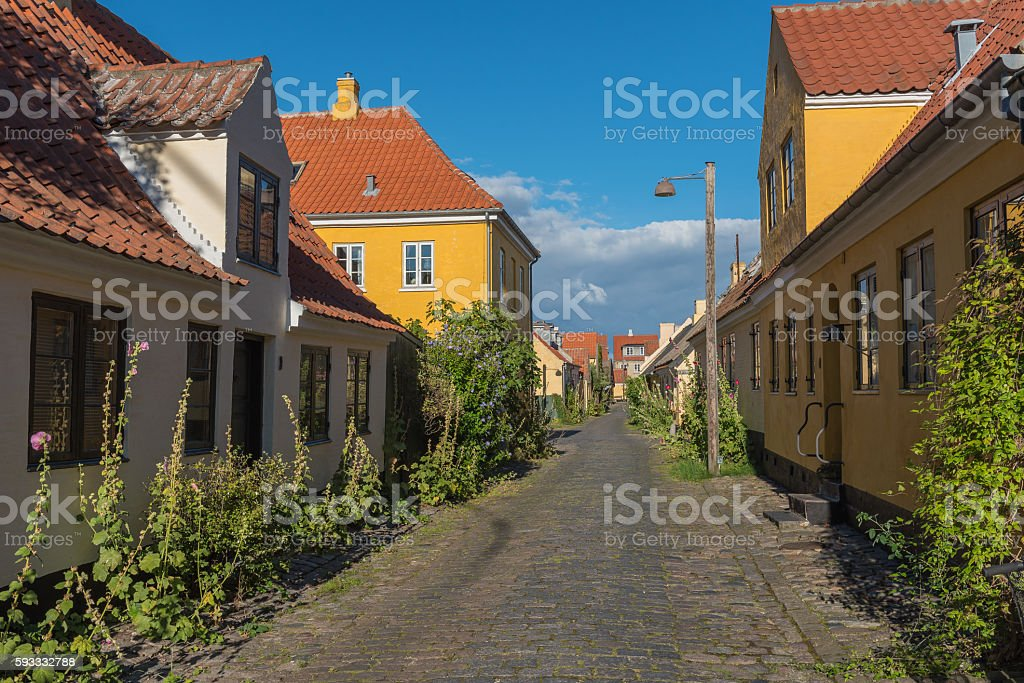 Yellow houses in the old town of Dragor stock photo