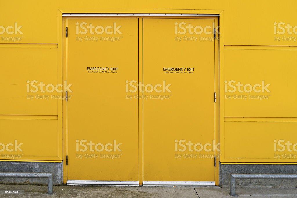 Yellow Industrial Utility Door royalty-free stock photo