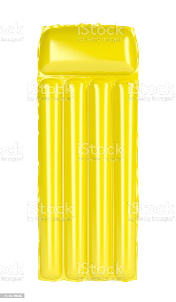 Yellow inflatable beach mattress stock photo