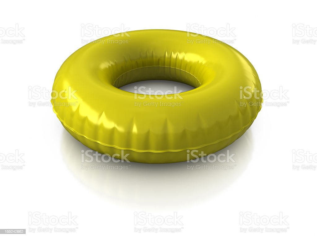 Yellow inflatable ring on white background stock photo