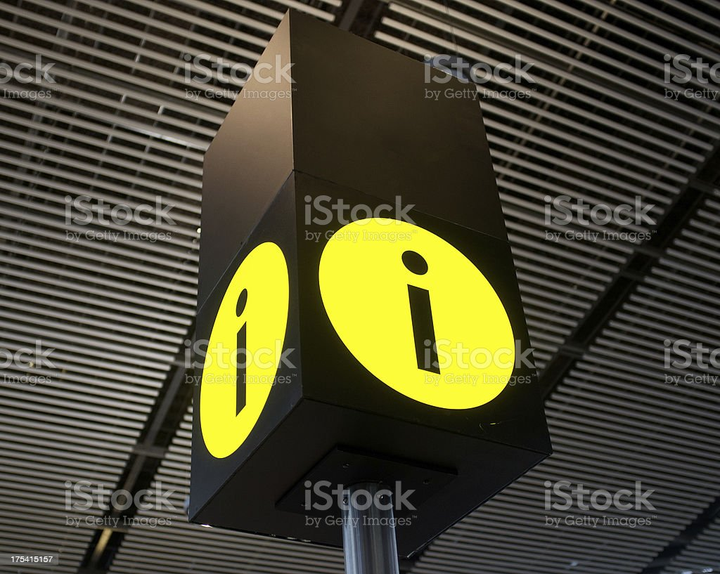 Yellow information sign on black signboard royalty-free stock photo