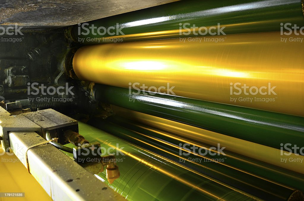yellow ink color drum of web set print machine stock photo