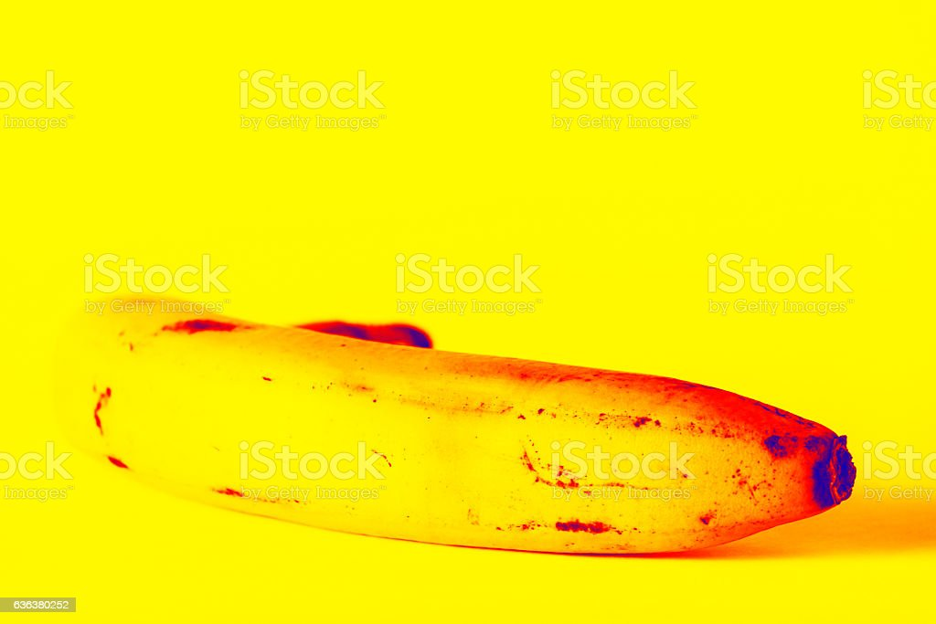 Yellow joy of a banana stock photo