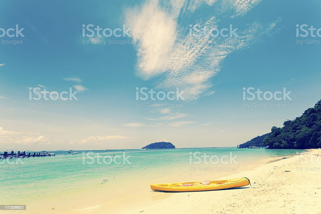 Yellow Kayak on Tropical Beach, Malaysia royalty-free stock photo