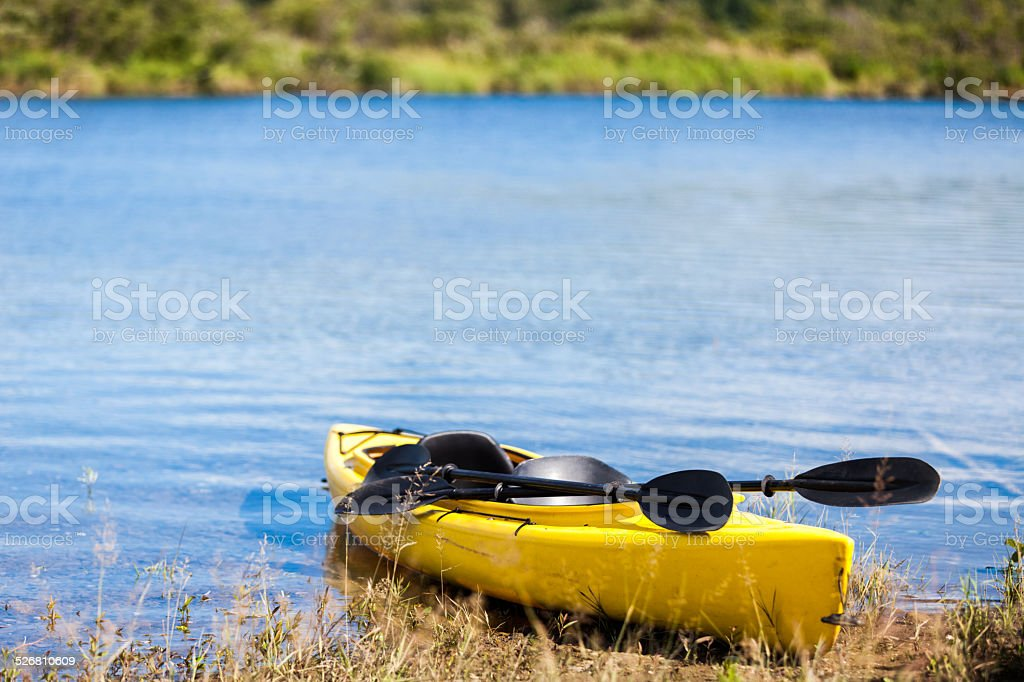 Yellow Kayak Ready to be Used stock photo