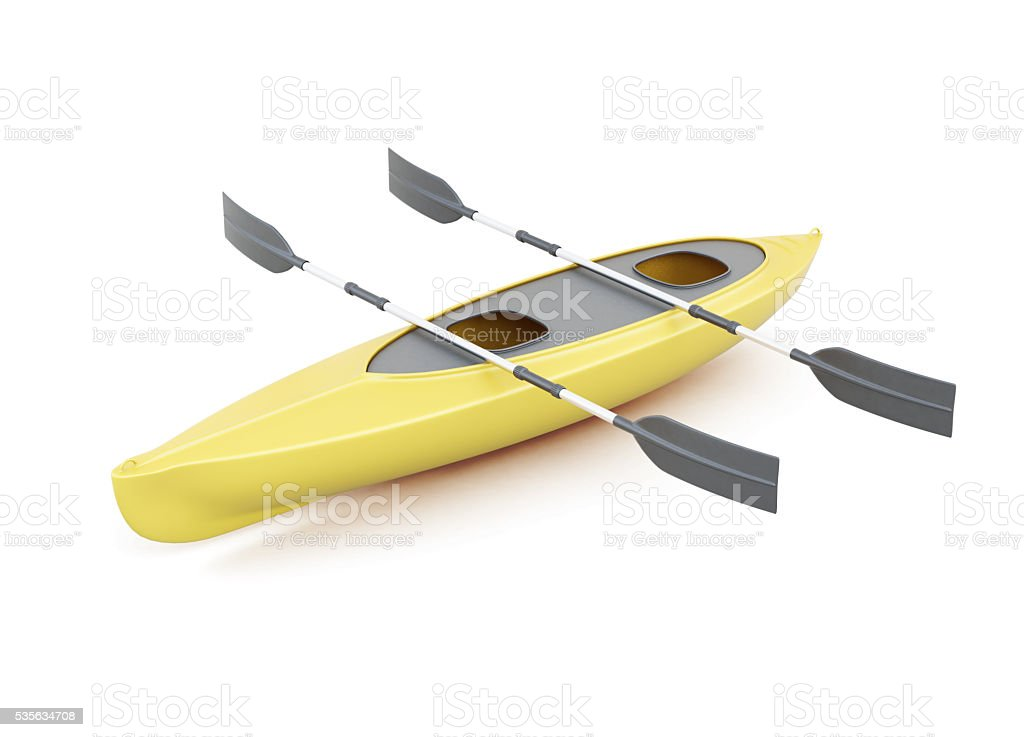 Yellow kayak with paddles isolated on a white background. stock photo
