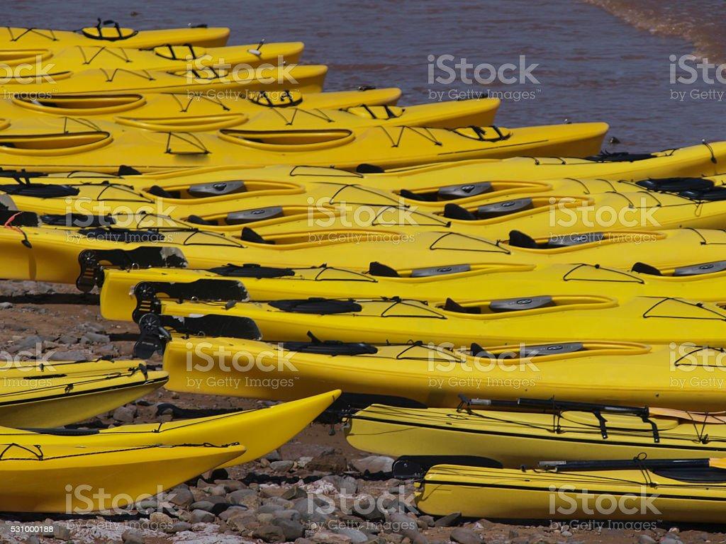 Yellow kayaks stock photo