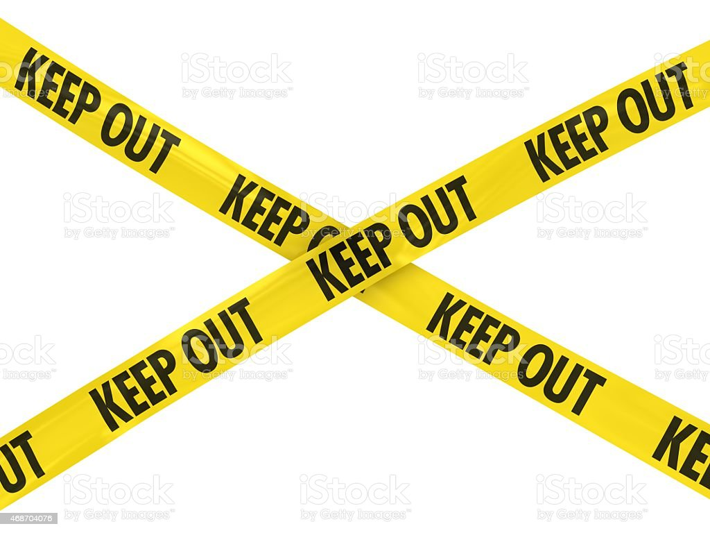 Yellow 'KEEP OUT' Barricade Tape vector art illustration