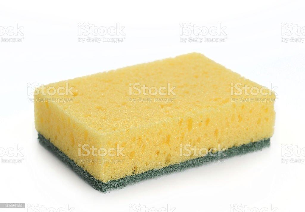 Yellow kitchen sponge isolated on white background. stock photo