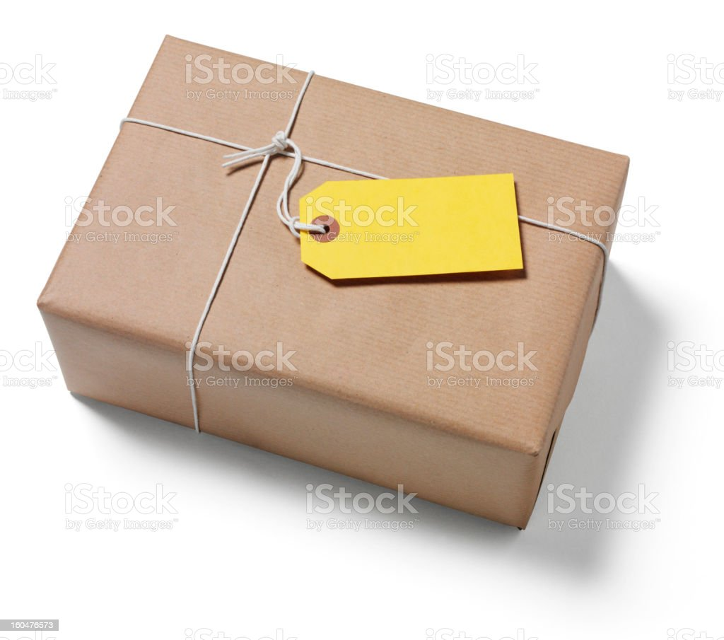 Yellow Label on a Brown Wrapped Parcel royalty-free stock photo