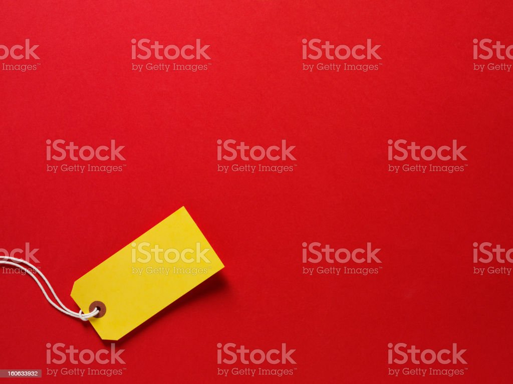 Yellow Label on a Red background royalty-free stock photo